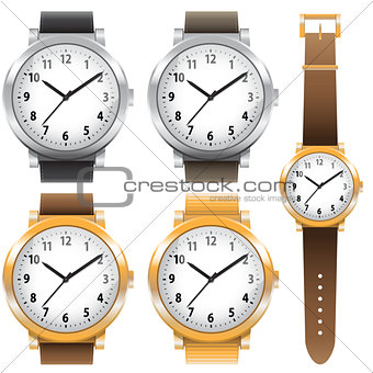 Gold and chrome watches classic design expensive watch set. Vector illustration