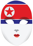 Stylized mask with North Korea flag bandanna