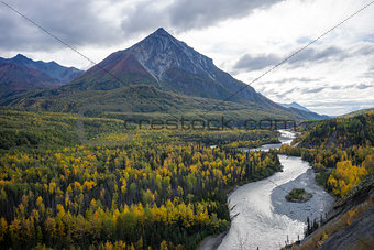 Alaska Autumn - Foliage, River & Mountain
