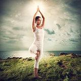 Yoga in a natural landscape