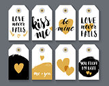 Heart shape label set