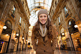 Portrait of woman shopper in Galleria Vittorio Emanuele II
