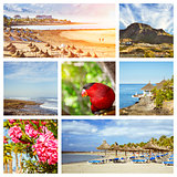 Tenerife Collage, Sunny beach travel vacation