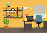 Creative office desktop workspace. Yellow vector mock up