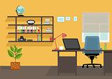 Creative office desktop workspace. Yellow vector mock up