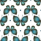 Seamless white pattern with vintage butterflies