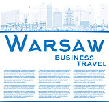 Outline Warsaw skyline with blue buildings and copy space.
