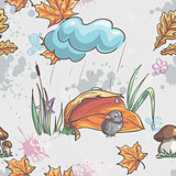 Seamless texture with autumn leaves and a sparrow in the rain