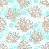Vector seamless pattern with beige coral