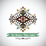 Vector bright decorative element on native ethnic style