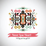 Vector bright decorative element on aztec style