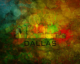 Dallas City Skyline on Grunge Background Illustration