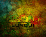 London City Skyline on Grunge Background Illustration