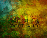 Portland City Skyline on Grunge Background Illustration