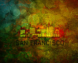 San Francisco City Skyline on Grunge Background Illustration