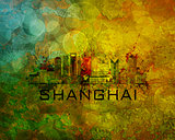 Shanghai City Skyline on Grunge Background Illustration