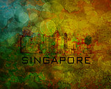 Singapore City Skyline on Grunge Background Illustration