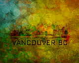 Vancouver BC City Skyline on Grunge Background Illustration