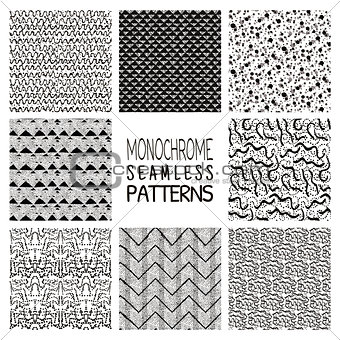 Abstract Monochrome Seamless Background Patterns