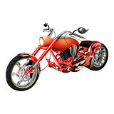 red motorbike, chopper isolated objects