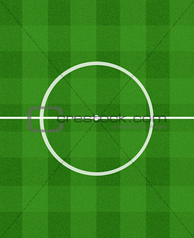 green football field with central circle
