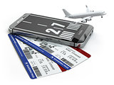 Buying airline tickets online concept.  Smartphone or mobile pho