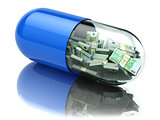 Euro packs in the capsule, pill. Healthcare costs or financial a