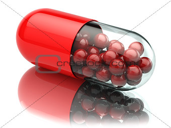 Capsule or pill isolated on white. Close up. Medical concept.