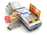 Shopping online concept. Pos terminal with credit card and shopp