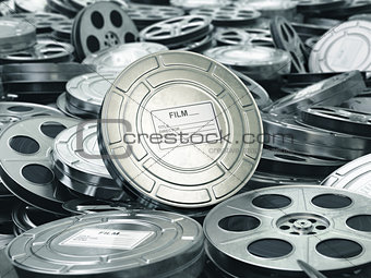 Cinema or movie concept. Video reels background. Films collectio