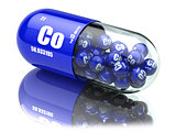 Pills with cobalt Co element Dietary supplements. Vitamin capsul