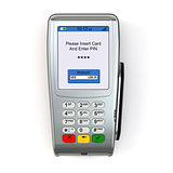 POS terminal  isolated on white background.