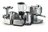 Metallic kitchen appliances. Blender, toaster, coffee machine, m