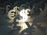 Dollar, euro, pound and yen signs. Ñurrency exchange concept.
