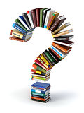 Question mark from books. Searching information or FAQ edication
