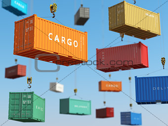 Cargo shipping containers in storage area with forklifts. Delive