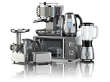 Kitchen appliances. Blender, toaster, coffee machine, meat ginde