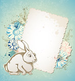 Easter card with rabbit and flowers