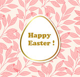 Easter background with pink leaves