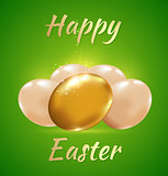 Easter card with golden eggs
