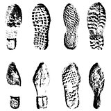 Collection  imprint soles shoes  black  silhouette. Vector illustration