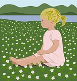 girl with wood anemones