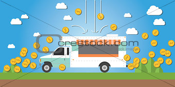 food truck business illustration money gold coin investment