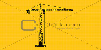 tower crane site construction isolated silhouette