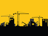 factory construction site mobile cranes city silhouette