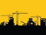 factory construction site mobile cranes city silhouette