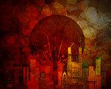 Tokyo Skyline Japan Flag Grunge Background Illustration
