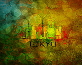 Tokyo City Skyline on Grunge Background Illustration