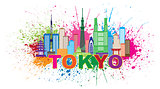 Tokyo City Skyline Paint Splatter Illustration