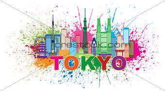 Tokyo City Skyline Paint Splatter Illustration